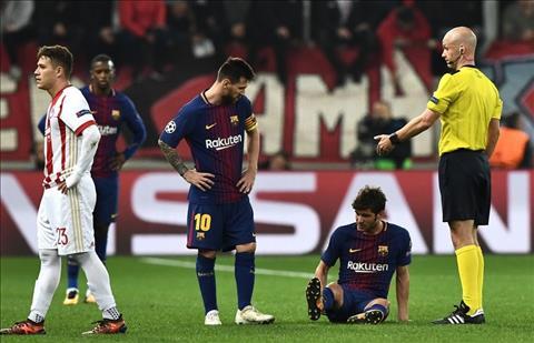 Bị Olympiakos cầm hòa, Barca còn tổn thất lực lượng