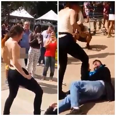Sự thật đằng sau đoạn video người phụ nữ cởi áo, dùng ngực tấn công gã yêu râu xanh ở Brazil