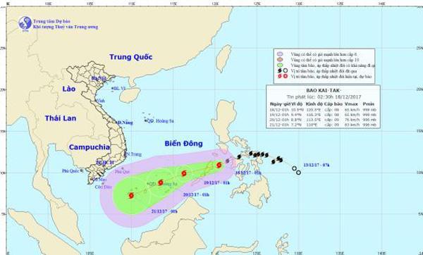 Trưa nay bão Kai-tak đi vào biển Đông, trở thành cơn bão số 15 trong năm ở Việt Nam