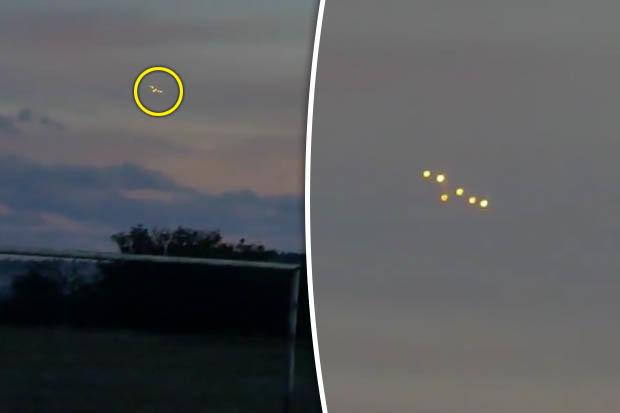 Khoảnh khắc phi đội 6 UFO rực sáng trên bầu trời Ukraine