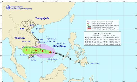 Bão số 14 giật cấp 11 đổ bộ Khánh Hòa - Bình Thuận trưa 19-11