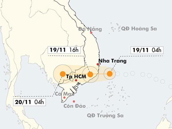 Áp thấp gây mưa lớn từ Quảng Nam đến Bình Thuận