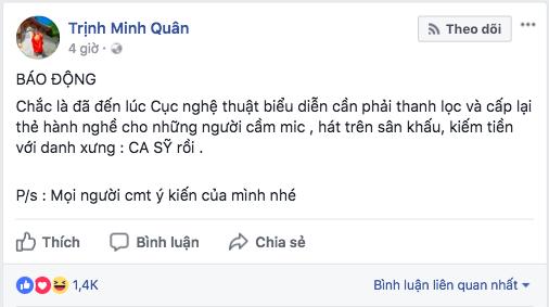 Người ta uốn lưỡi 7 lần trước khi nói, còn Minh Quân sửa hẳn MƯỜI TÁM lần khi đăng status dài 3 dòng đá xéo Chi Pu