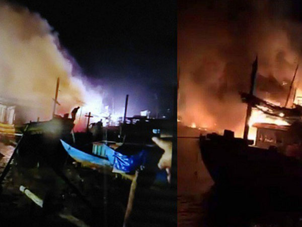 4 tàu cá bất ngờ bốc cháy trong đêm