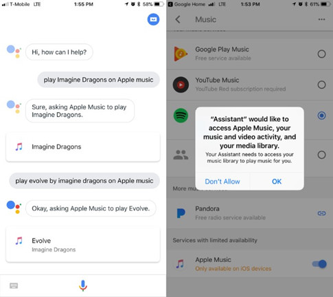 Đã có thể sử dụng Apple Music với Google Assistant trên iPhone