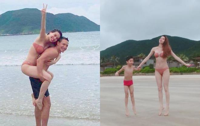 Hồ Ngọc Hà lặng lẽ ngắm Kim Lý vui đùa thân thiết bên con trai Subeo