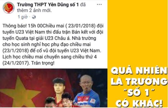 Nam sinh xin nghỉ học để xem đội tuyển U23 Việt Nam đá bán kết?