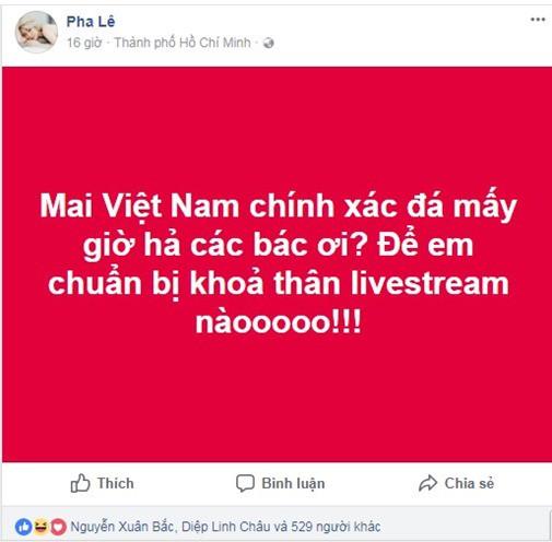 Ca sĩ Pha Lê bị ném đá vì trót tuyên bố khỏa thân livestream xem U23 chiến thắng