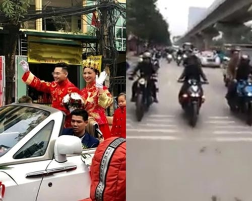 Màn rước dâu bằng siêu xe trên phố Hà Nội gây tranh cãi