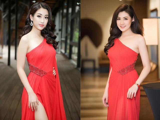 Hoa hậu Đỗ Mỹ Linh và Á hậu Tú Anh tiếp tục đụng váy đỏ rực rỡ