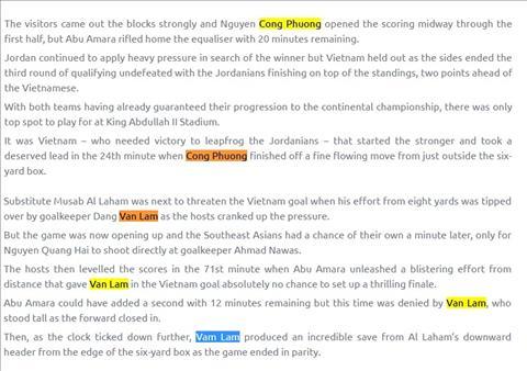 AFC nhầm nhọt tai hại khi đưa tin về ĐT Việt Nam