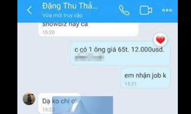 Sau Andrea, Đặng Thu Thảo bị lộ tin nhắn mời đi khách giá 12.000 USD