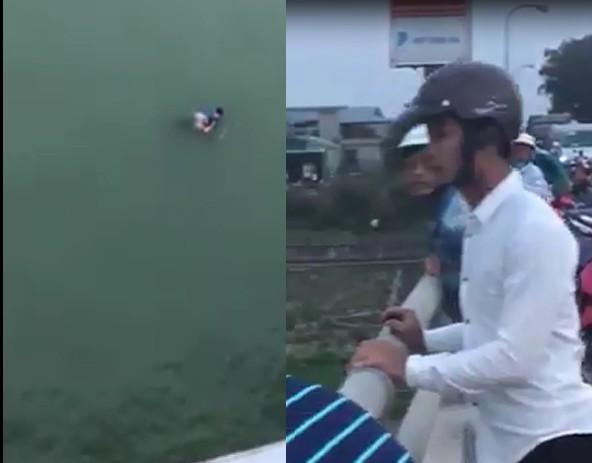 Thanh Hóa: Thót tim cảnh thanh niên lao mình xuống sông cứu cô gái trẻ để lại tư trang nhảy cầu