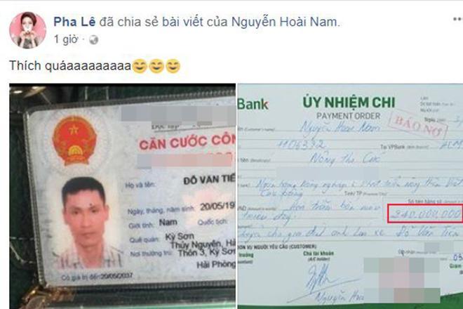 Sao Việt ủng hộ hành động nói là làm của chồng Hoa khôi Thu Hương