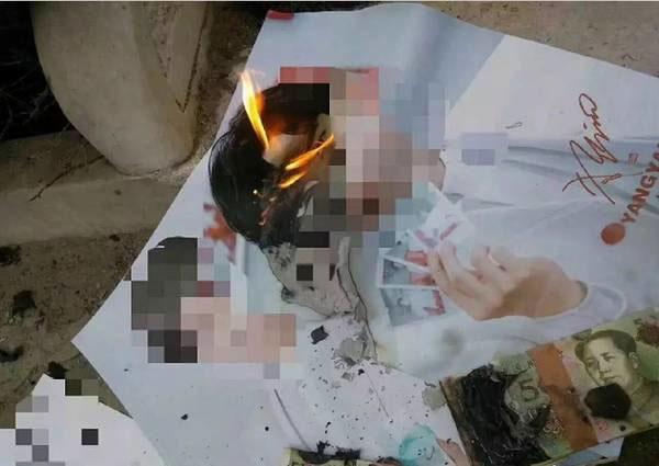 Người hâm mộ tức giận, đốt loạt ảnh poster của Dương Dương... cùng vàng mã rồi chia sẻ trên MXH