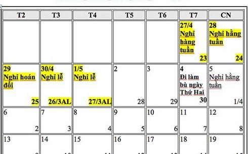 Đề xuất hoán đổi ngày nghỉ Tết Dương lịch, nghỉ Lễ 30-4 và 1-5 năm 2019