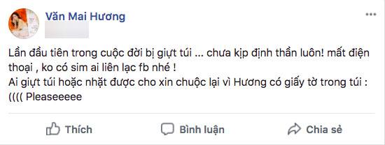 Bị giật túi xách, Văn Mai Hương hốt hoảng cầu cứu dân mạng!