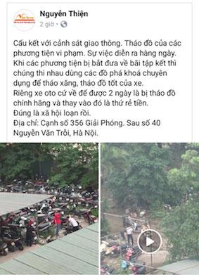 CSGT Hà Nội tháo đồ xe bị tạm giữ: Đề nghị xử nghiêm người tung clip