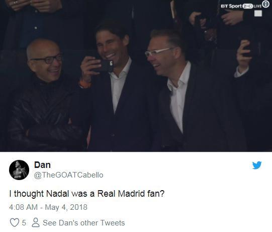 Cổ vũ Atletico, Rafael Nadal bị fan Real gọi là rắn độc