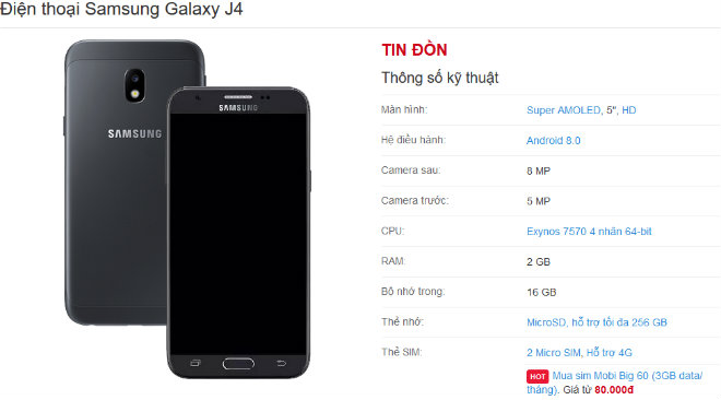NÓNG: Samsung Galaxy J4 2018 lộ ảnh thực tế, giá rẻ 4,5 triệu đồng