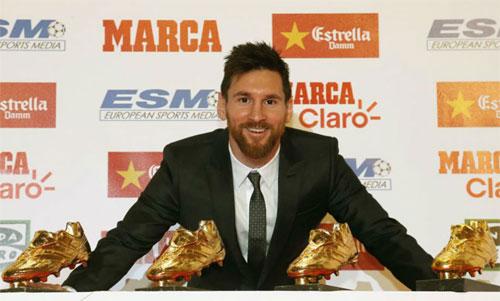 Messi giành Giày vàng châu Âu thứ năm, lập kỷ lục mới
