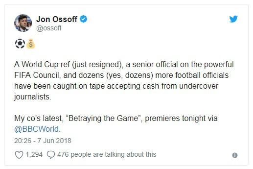 Nhận hối lộ, trọng tài bị đuổi khỏi World Cup 2018