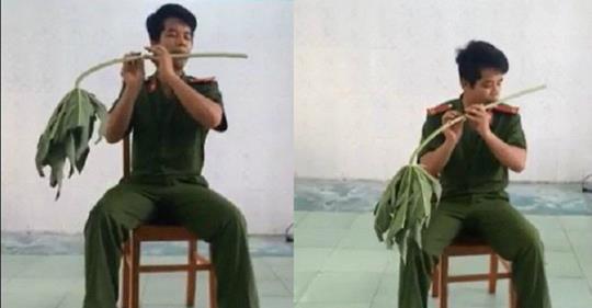 9X Hải Phòng gây bất ngờ với màn thổi sáo bằng cuống lá đu đủ