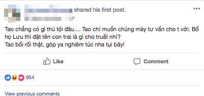 Ông bố trẻ lên mạng nhờ đặt tên cho con trai họ Lưu sao cho thật chất và cái kết hài khó đỡ