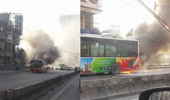 Hà Nội: Xe buýt đang lưu thông bất ngờ bốc cháy nghi ngút