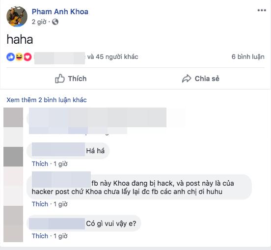 Phạm Anh Khoa bất ngờ trở lại sau scandal, đăng status khó hiểu trên facebook và đây là lý do?
