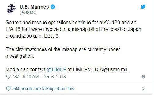 Tiêm kích F/A-18 và KC-130 Mỹ đâm nhau ở Nhật Bản - 5 người trên máy bay tiếp dầu không có ghế thoát hiểm