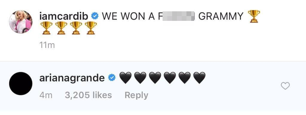 Ariana văng tục khi Cardi B nhận Grammy, sau đó xin lỗi và thả tim tình thương mến thương