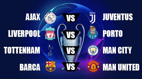 Bốc thăm tứ kết Champions League: M.U đen đủi đụng Barca, nội chiến Tottenham vs Man City