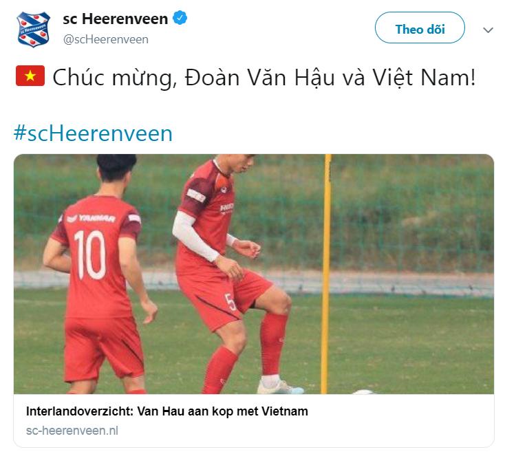 Image result for heerenveen chuc mừng văn hậu