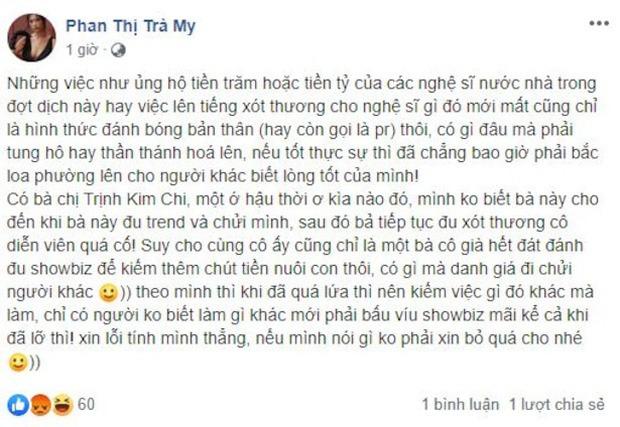 NSƯT Trịnh Kim Chi có động thái ngầm đáp trả Trà My sau phát ngôn mỉa mai những nghệ sĩ xót thương Mai Phương