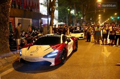 Dàn siêu xe hơn 300 tỷ rầm rộ tụ họp trên đường phố Hà Nội, Cường Đô La và vợ cũng xuất hiện với chiếc Audi R8V10 - 6