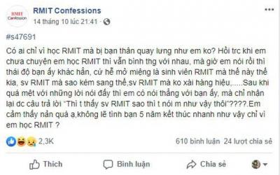 Học RMIT nhưng bị cà khịa kém sang vì không xài đồ hiệu, nam sinh lên mạng than thở sắp mất bạn thân